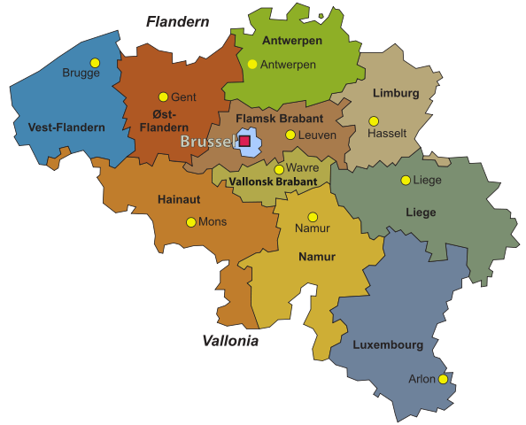 List and map of supermarkets hypermarkets and proximity stores in – Belgium Regions Map